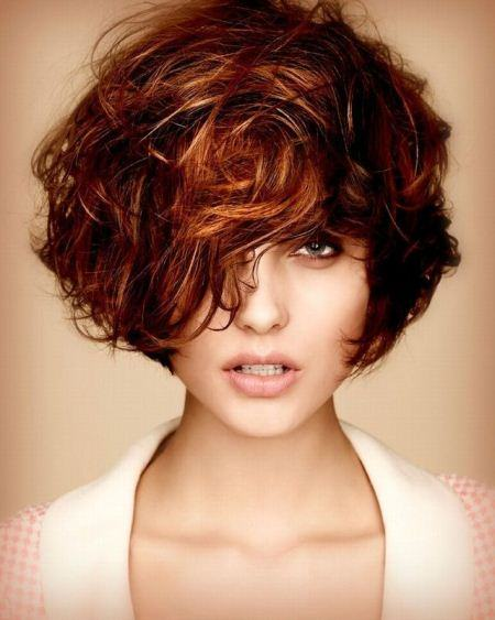 curly asymmetic short bob hairstyles 2016