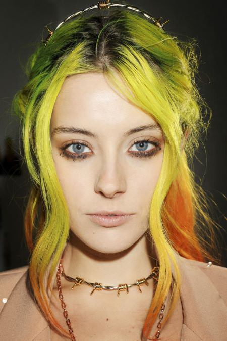 gray to acid yellow best two tone hairstyle for women