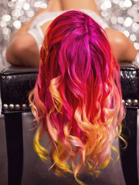 neon ombre two tone hairstyles for women