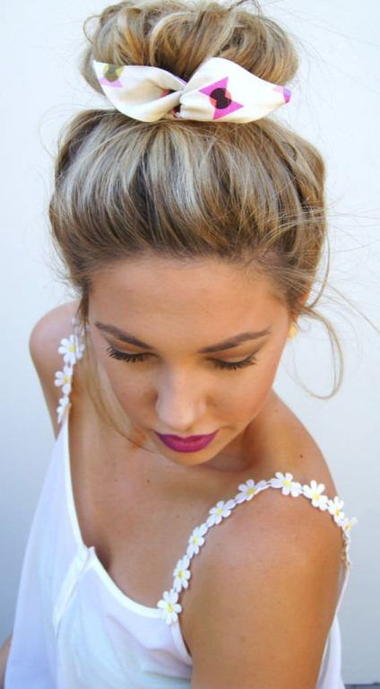 braided-top knot with colorful scarf knot hairstyles
