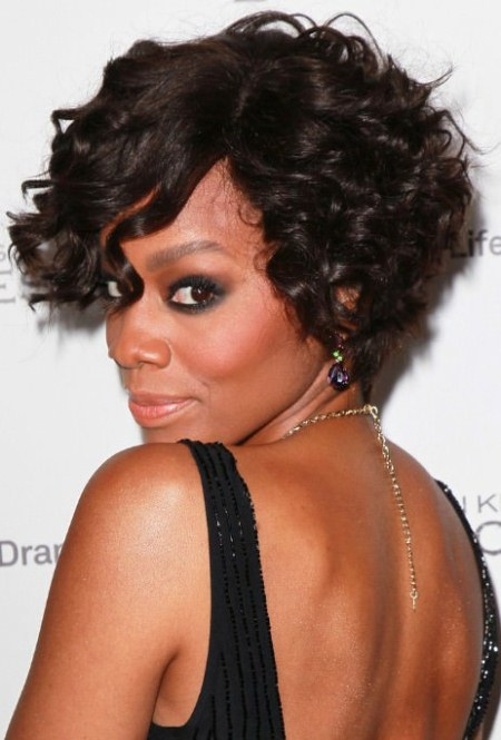 curly bob with bangs short black hairstyles