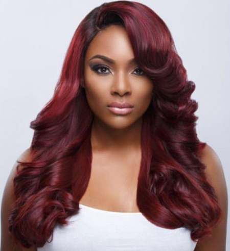 long-burgundy-weave captivating hairstyles for black women