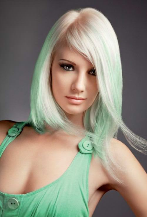 pastel-green blonde hair color ideas for women