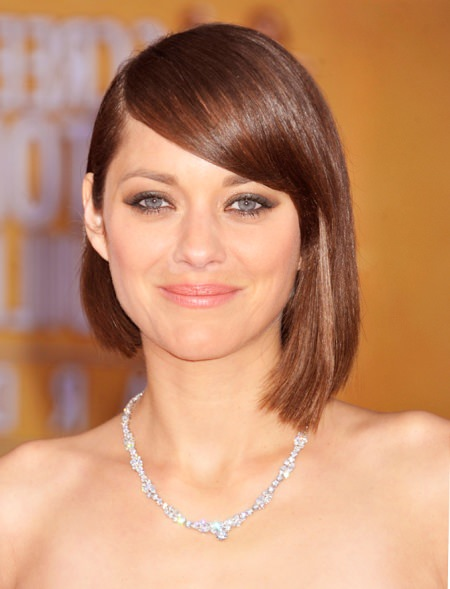 A line long bob with bangs