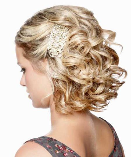 Airy curly updo wedding hairstyles for short hair