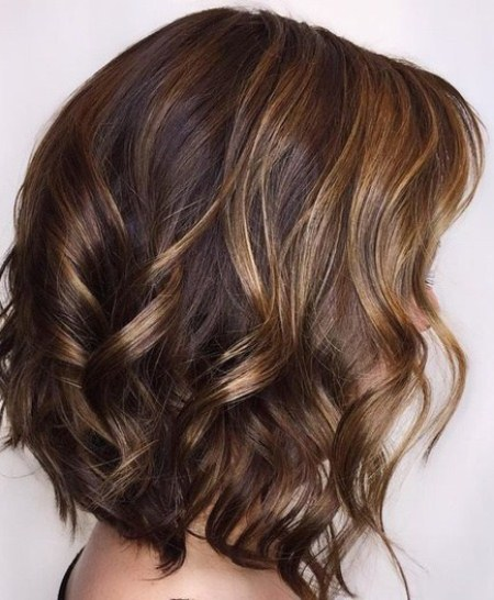 Brown curly hair with brown highlights short wavy hairstyles for girls