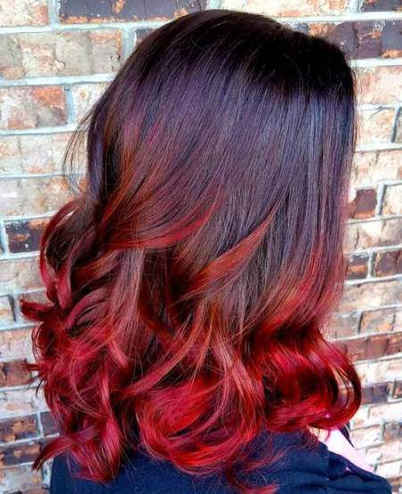 Burst of red ombre hair