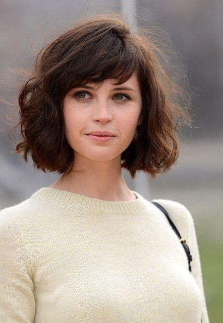 Curly bob with bangs hairstyles for short hair