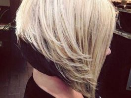 Dark and light inverted bob haircut
