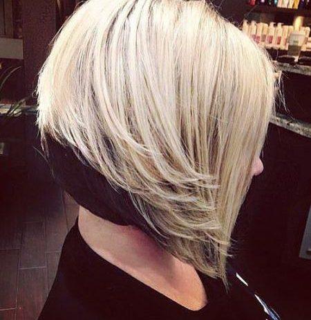 Dark and light inverted bob haircut