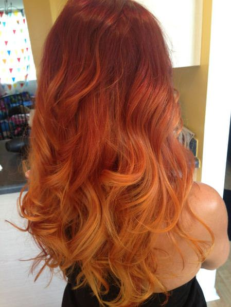 Day glow vibrancy red ombre hair