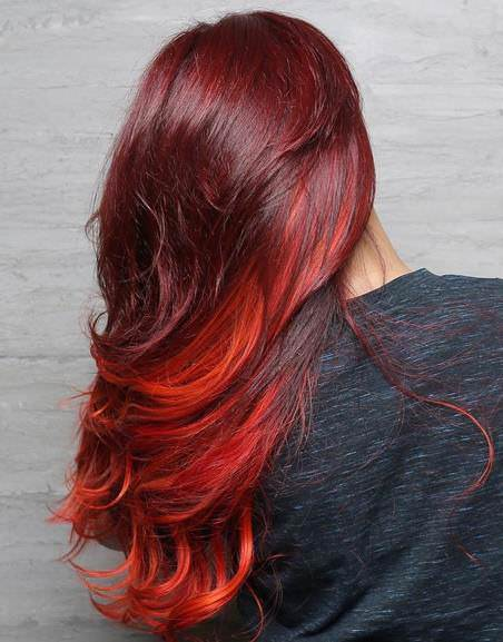 Mulitiple beauty red ombre hair color