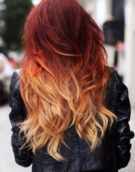 Ombre hair with accent cut red ombre hair