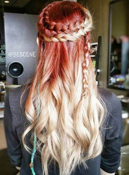 Platinum blonde red ombre hair