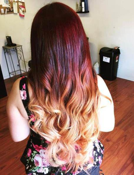 Rainbow of red ombre hair