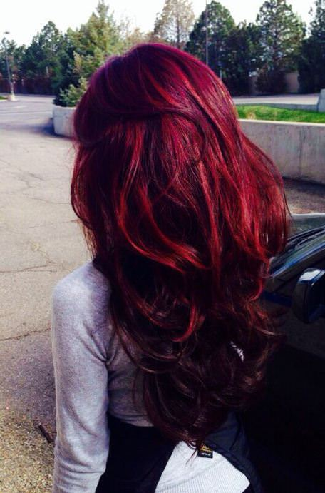 Rich in red winter hair color