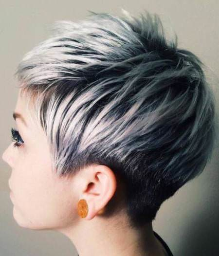 Sleek silver ombre hair ideas for cropped locks