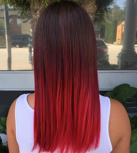 Super straight and smooth red ombre hair