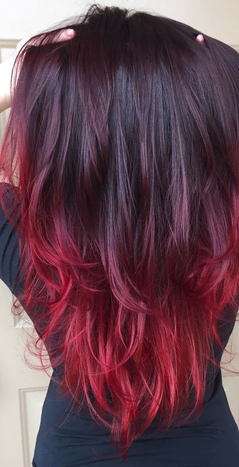 Sweet heart ombre red ombre hair
