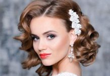Vintage curls wedding hairstyles for short hair
