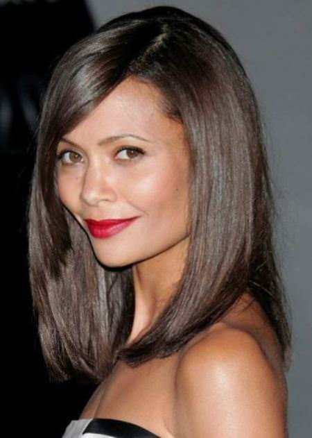 angled side bangs with long bob medium length haircuts with bangs
