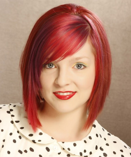 asymmetrical bob with fringes funky hairstyles for girls