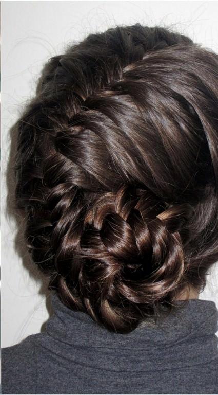 asymmetrical bun fishtail braid hairstyles
