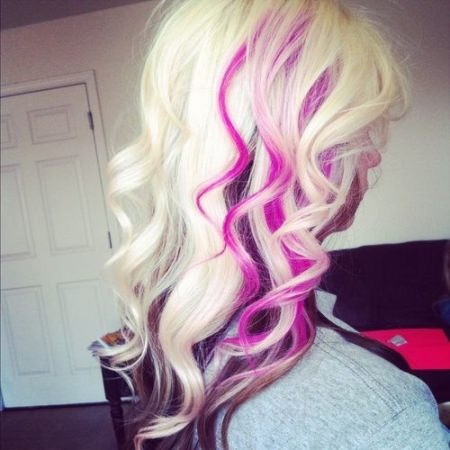 blonde hair with pink streaks hair color ideas for chunky highlights